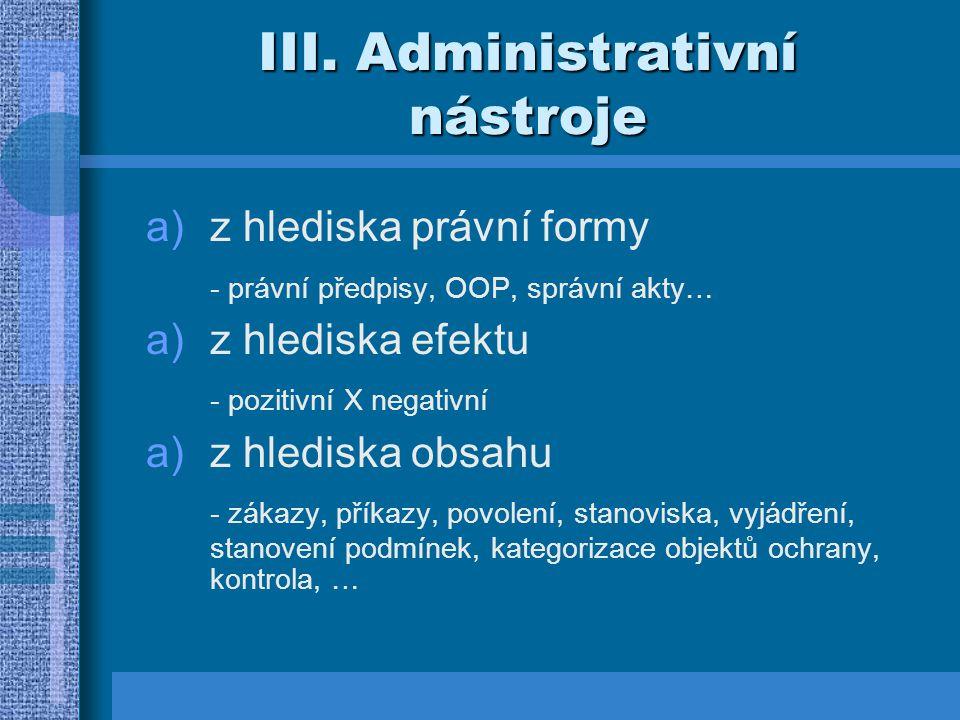 III. Administrativní nástroje
