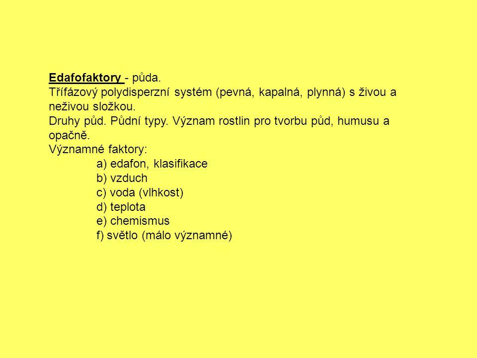 Edafofaktory - půda. Třífázový polydisperzní systém (pevná, kapalná, plynná) s živou a neživou složkou.