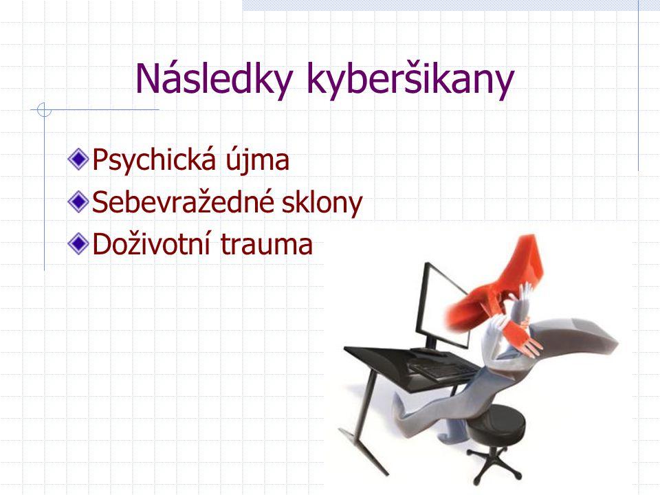 Následky kyberšikany Psychická újma Sebevražedné sklony