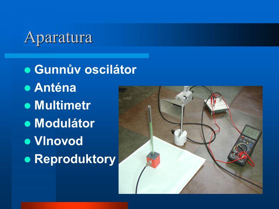 Aparatura Gunnův oscilátor Anténa Multimetr Modulátor Vlnovod