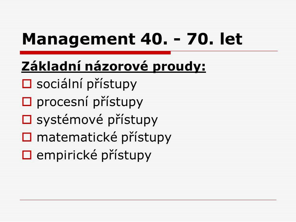 Management 40. - 70. let Základní názorové proudy: sociální přístupy