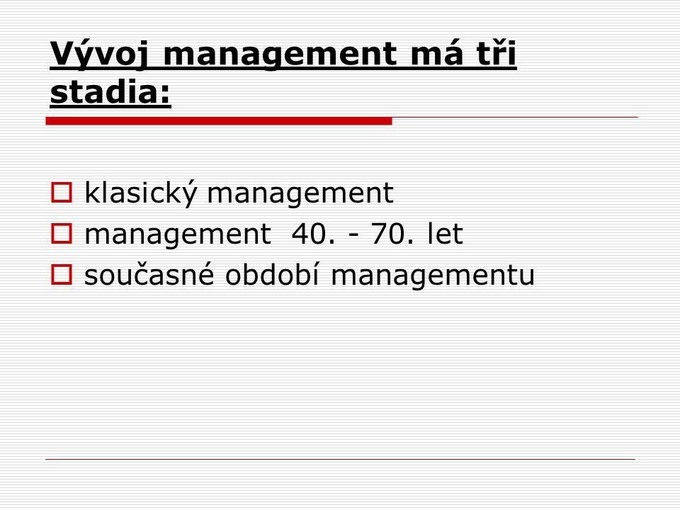 Vývoj management má tři stadia: