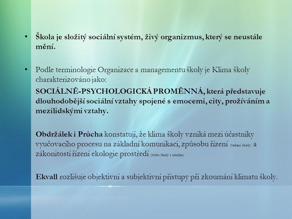 Škola je složitý sociální systém, živý organizmus, který se neustále mění.