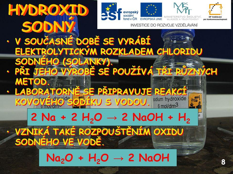HYDROXID SODNÝ 2 Na + 2 H2O → 2 NaOH + H2 Na2O + H2O → 2 NaOH
