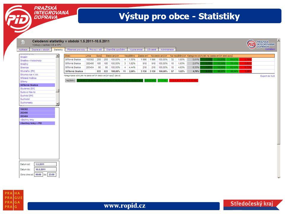 Výstup pro obce - Statistiky