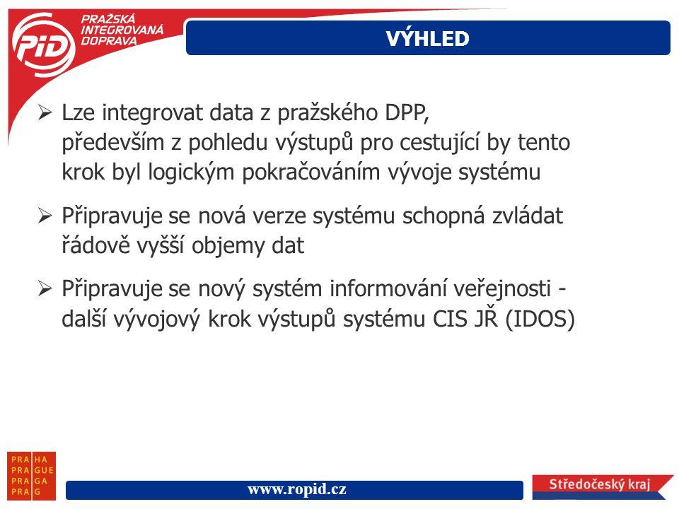 VÝHLED Lze integrovat data z pražského DPP, především z pohledu výstupů pro cestující by tento krok byl logickým pokračováním vývoje systému.