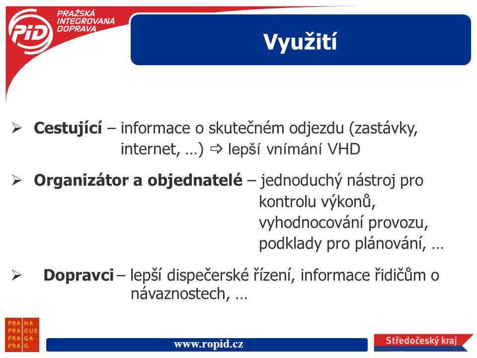 Využití Cestující – informace o skutečném odjezdu (zastávky, internet, …)  lepší vnímání VHD.