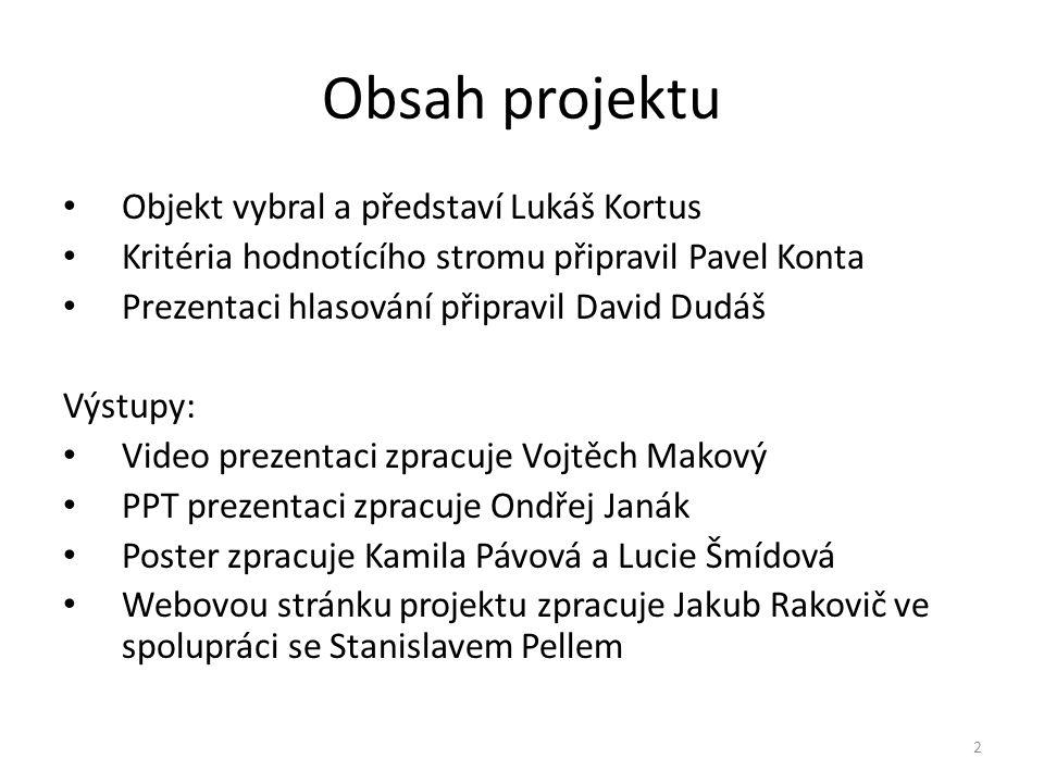 Obsah projektu Objekt vybral a představí Lukáš Kortus