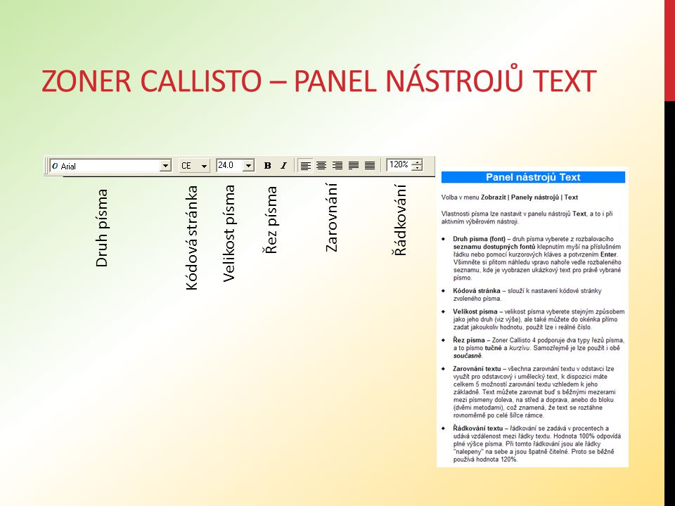 Zoner callisto – panel nástrojů text