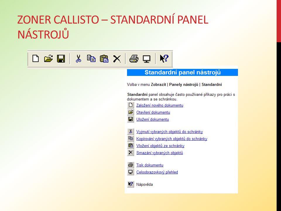 Zoner callisto – standardní panel nástrojů