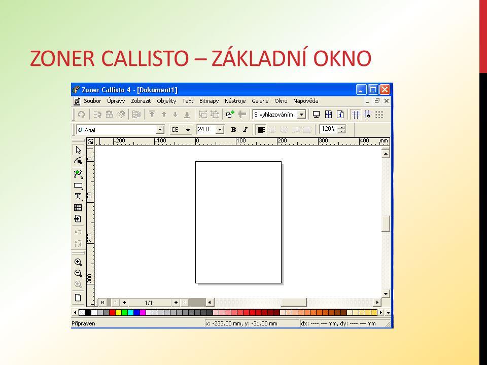 Zoner callisto – základní okno