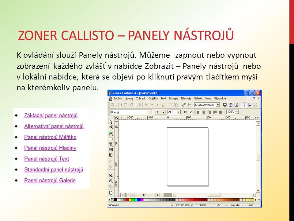 Zoner callisto – panely nástrojů