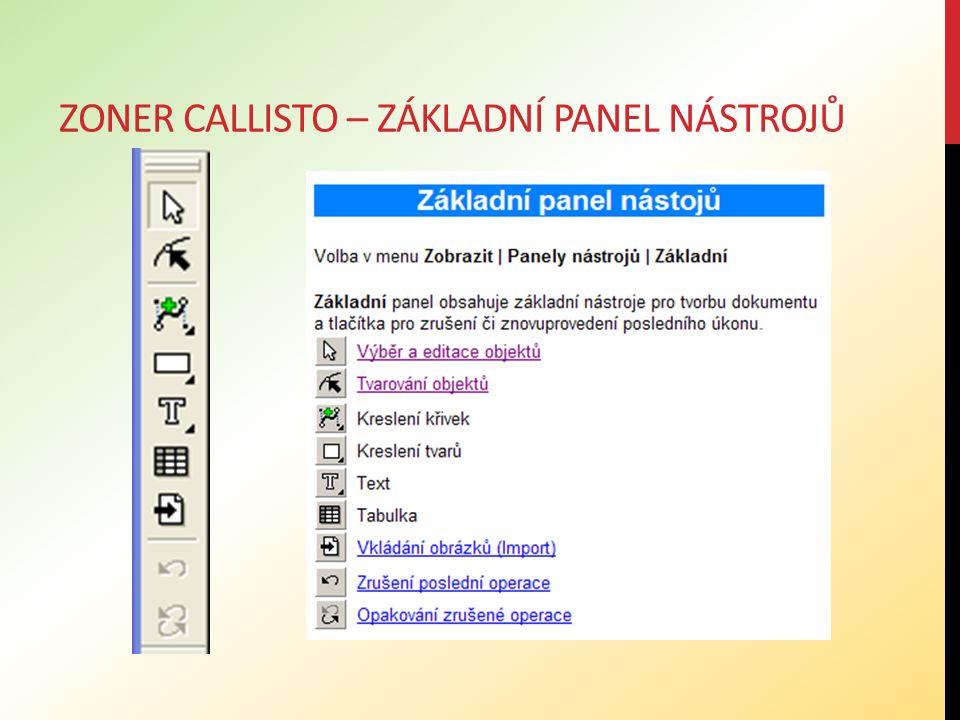 Zoner callisto – základní panel nástrojů