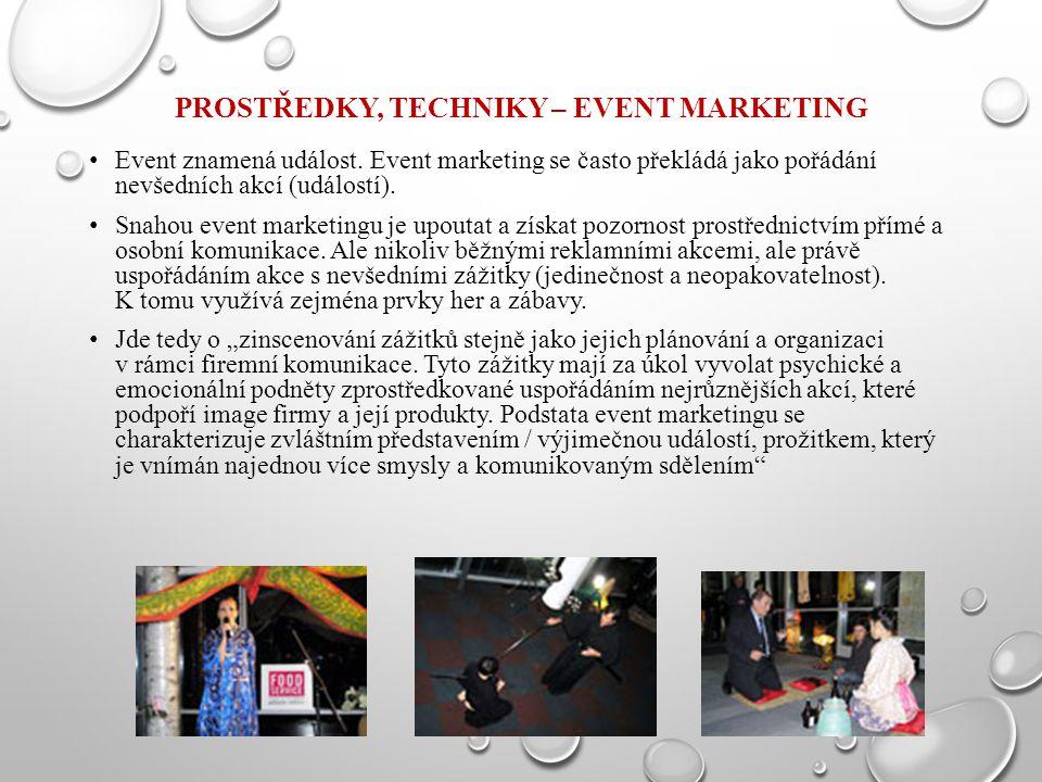 Prostředky, techniky – Event marketing