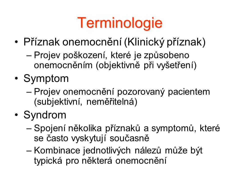 Terminologie Příznak onemocnění (Klinický příznak) Symptom Syndrom
