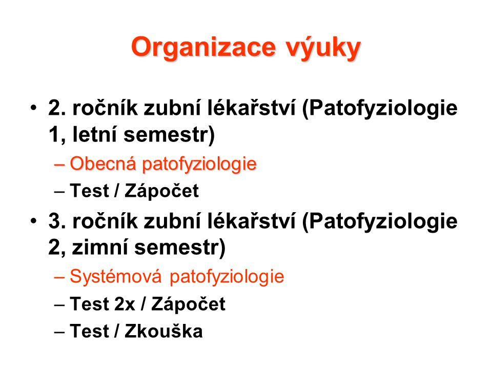 Organizace výuky 2. ročník zubní lékařství (Patofyziologie 1, letní semestr) Obecná patofyziologie.