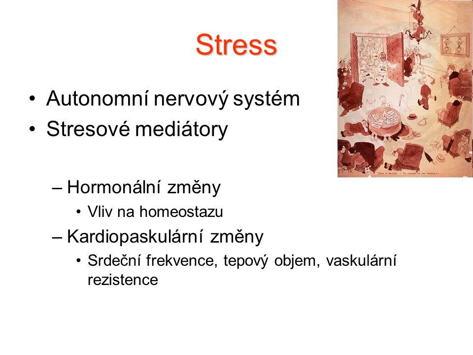Stress Autonomní nervový systém Stresové mediátory Hormonální změny