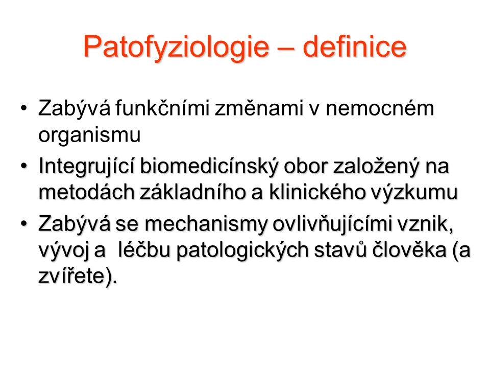 Patofyziologie – definice