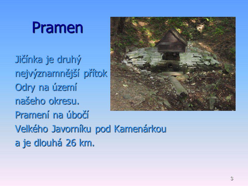 Pramen Jičínka je druhý nejvýznamnější přítok Odry na území
