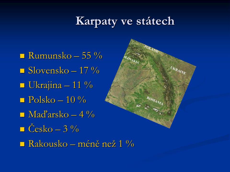 Karpaty ve státech Rumunsko – 55 % Slovensko – 17 % Ukrajina – 11 %