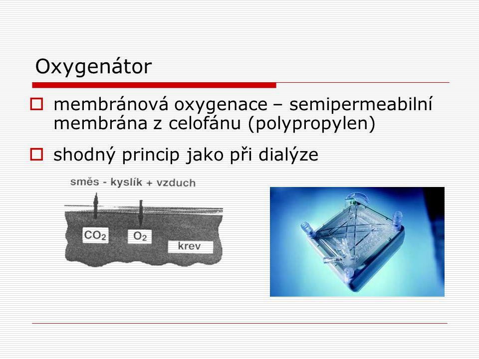 Oxygenátor membránová oxygenace – semipermeabilní membrána z celofánu (polypropylen) shodný princip jako při dialýze.