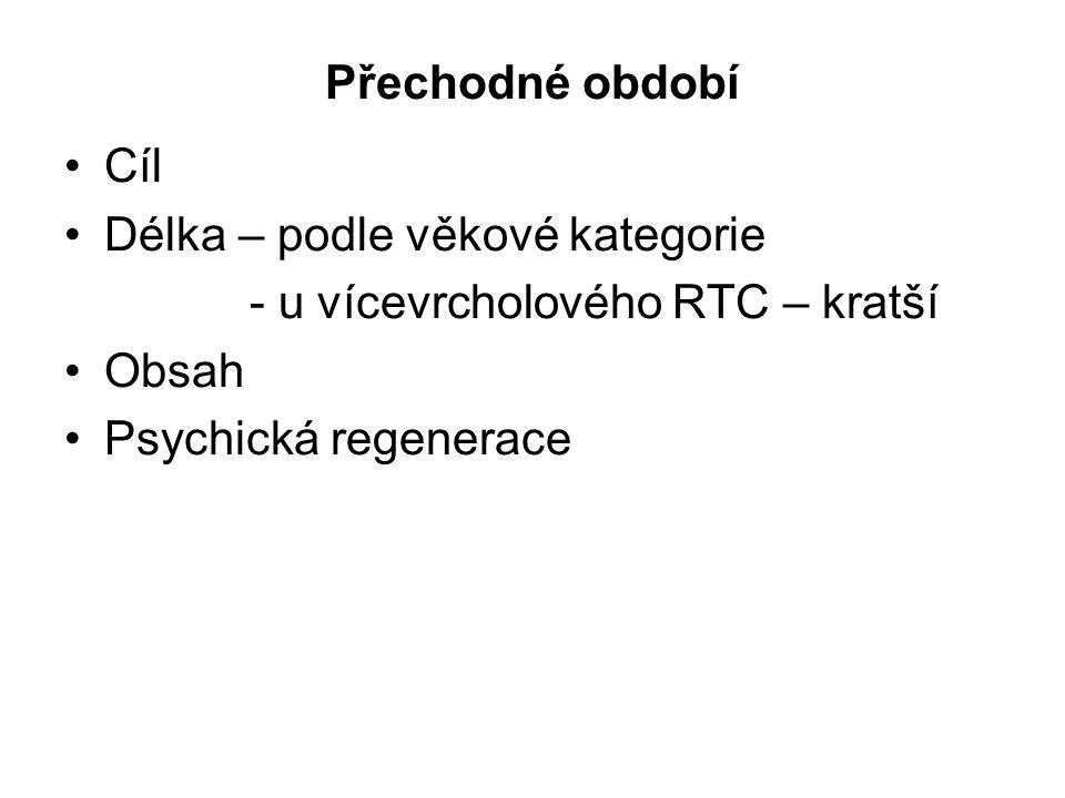 Přechodné období Cíl. Délka – podle věkové kategorie.