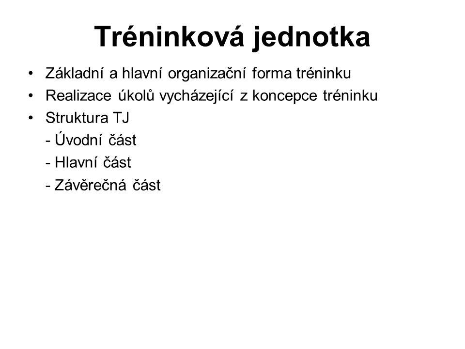 Tréninková jednotka Základní a hlavní organizační forma tréninku