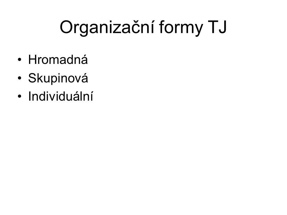 Organizační formy TJ Hromadná Skupinová Individuální