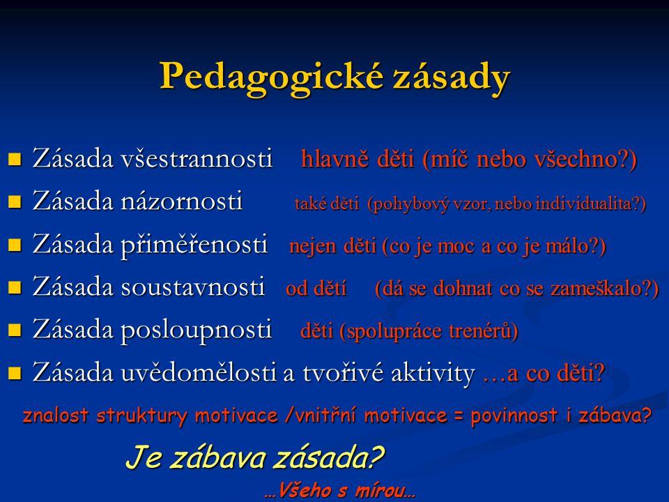 Pedagogické zásady Zásada všestrannosti hlavně děti (míč nebo všechno ) Zásada názornosti také děti (pohybový vzor, nebo individualita )