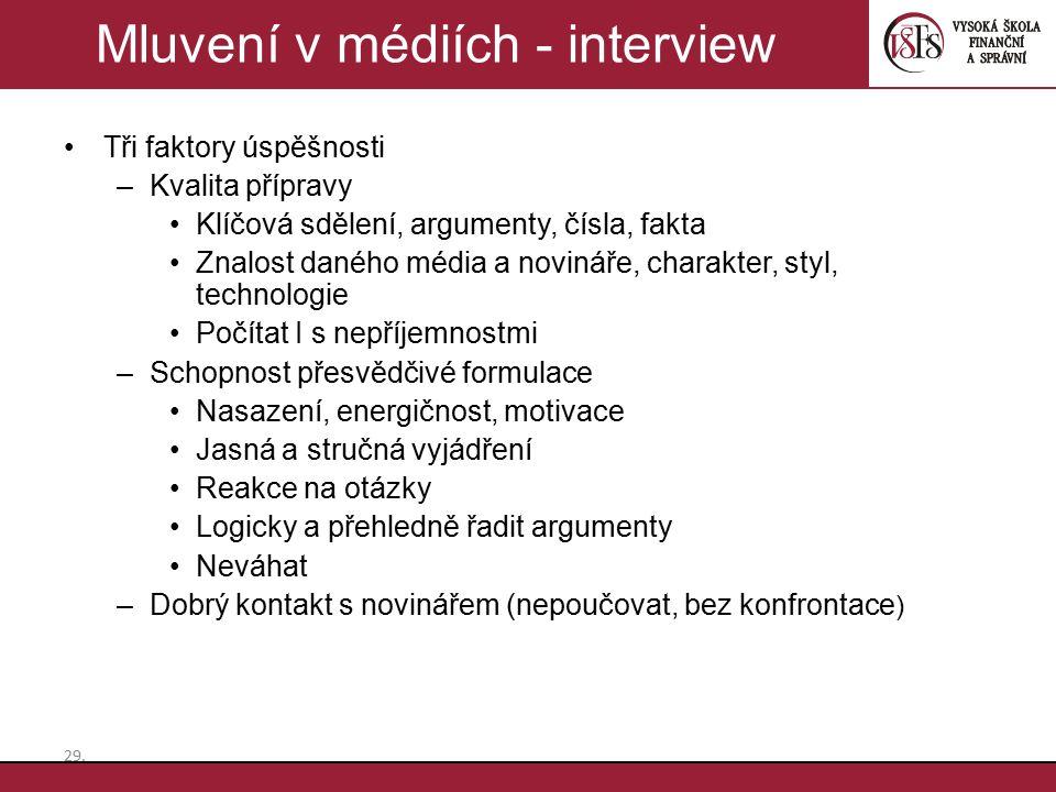 Mluvení v médiích - interview