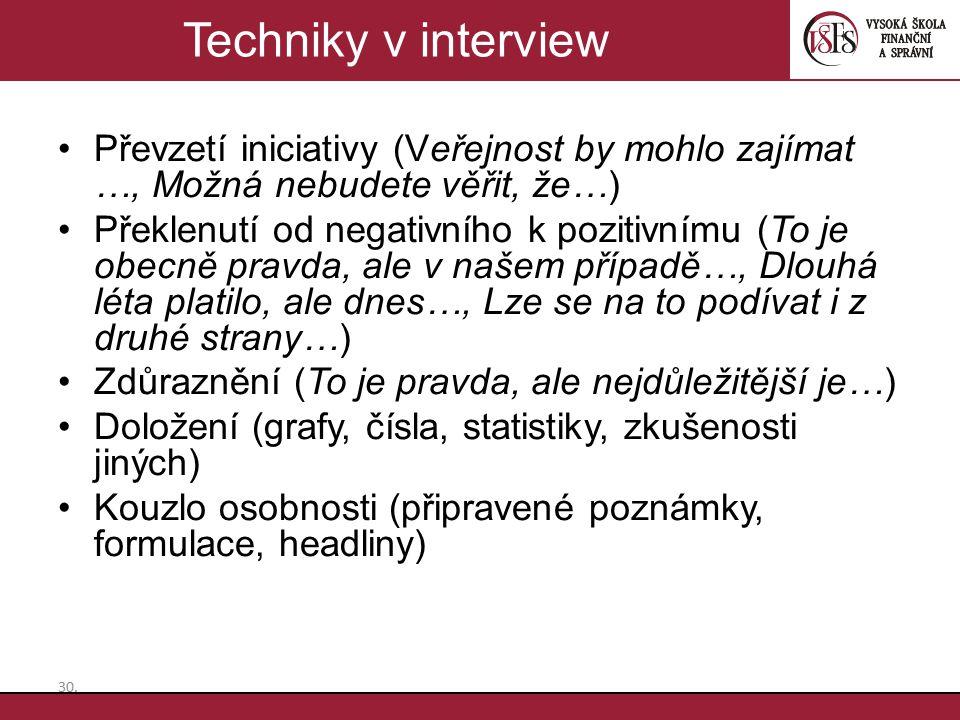 Techniky v interview Převzetí iniciativy (Veřejnost by mohlo zajímat …, Možná nebudete věřit, že…)