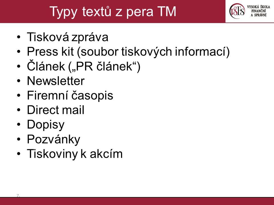 Typy textů z pera TM Tisková zpráva