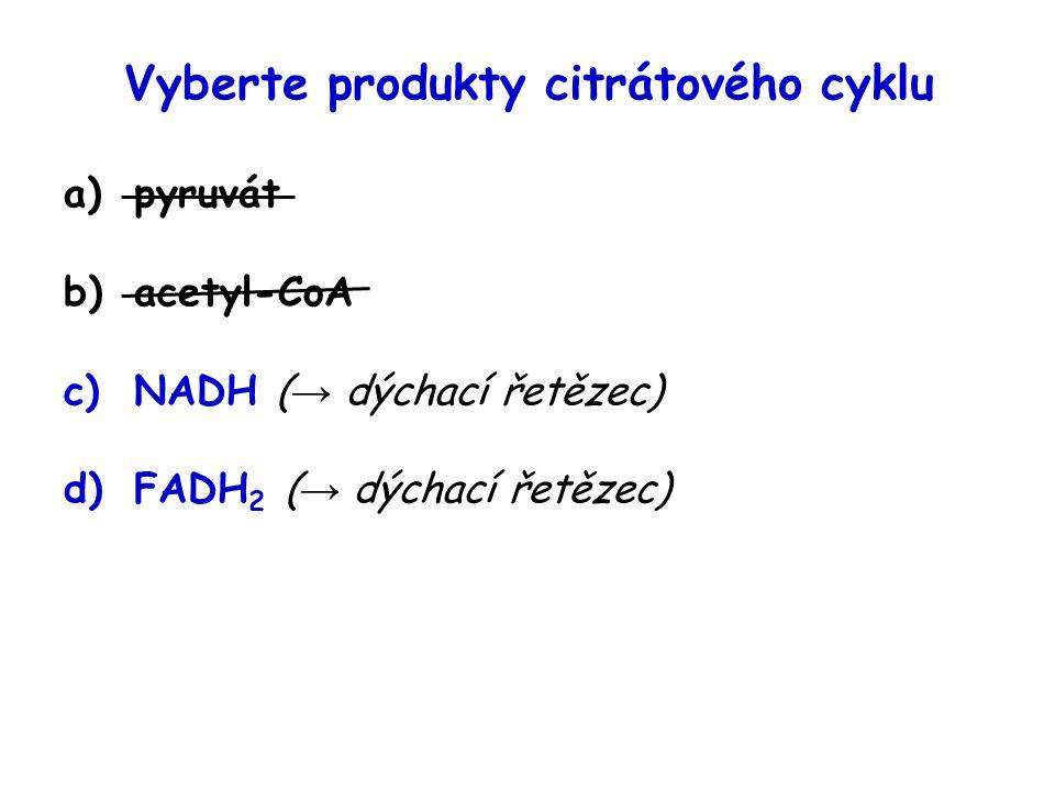 Vyberte produkty citrátového cyklu