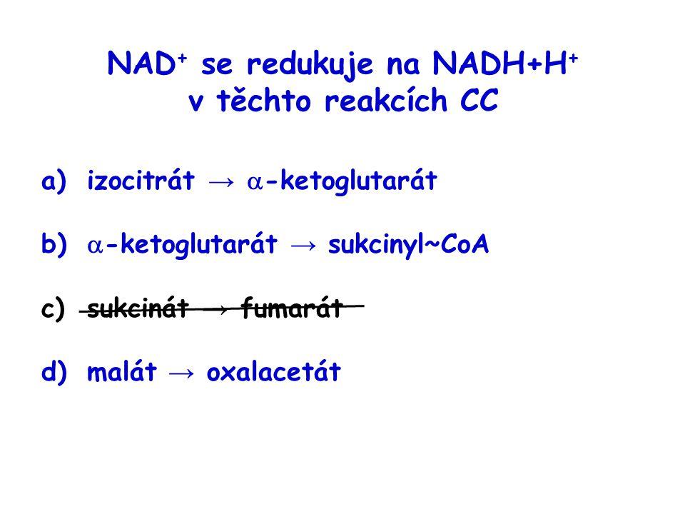 NAD+ se redukuje na NADH+H+ v těchto reakcích CC