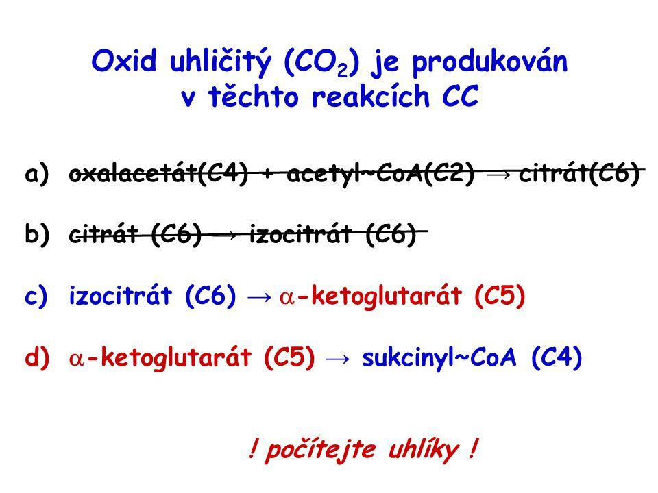 Oxid uhličitý (CO2) je produkován v těchto reakcích CC