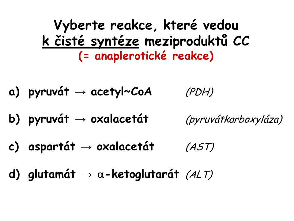 Vyberte reakce, které vedou k čisté syntéze meziproduktů CC (= anaplerotické reakce)