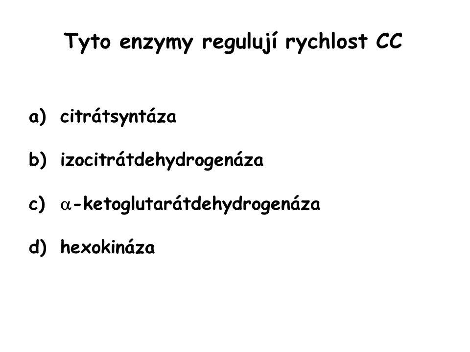 Tyto enzymy regulují rychlost CC