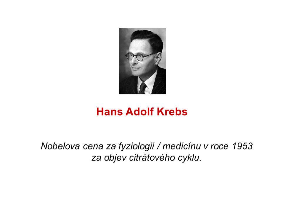 Hans Adolf Krebs Nobelova cena za fyziologii / medicínu v roce 1953 za objev citrátového cyklu.
