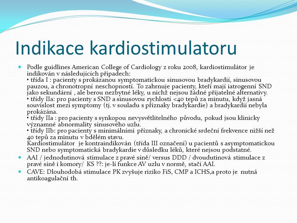 Indikace kardiostimulatoru