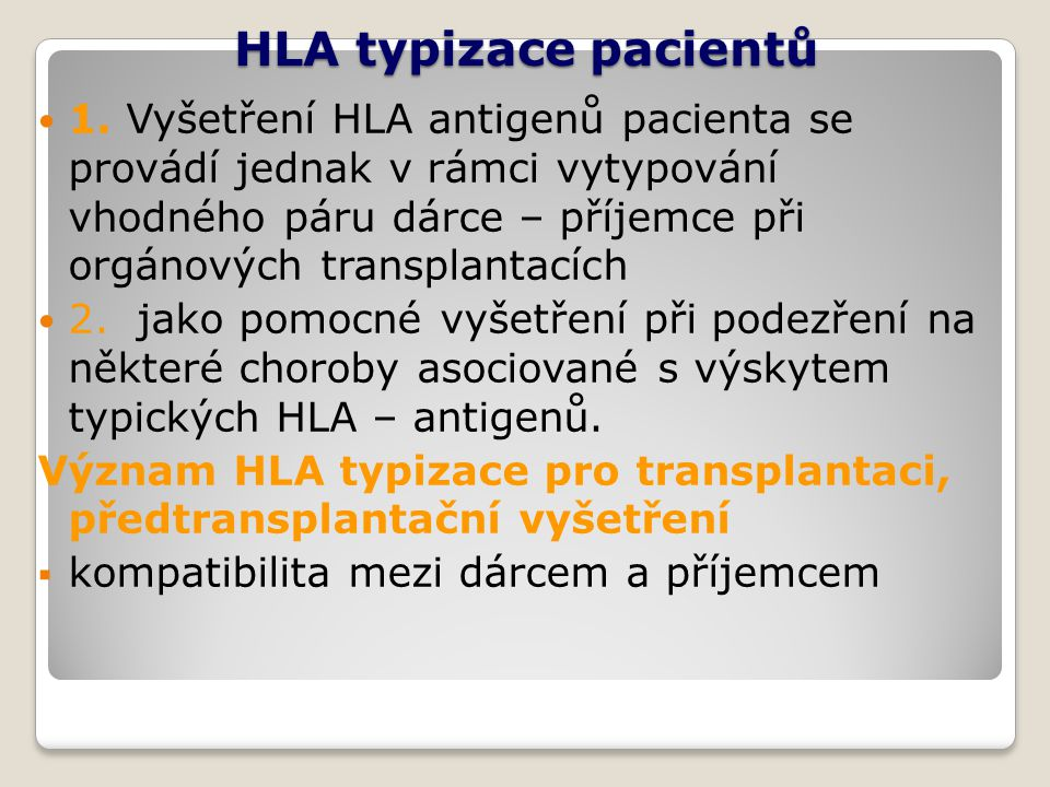 HLA typizace pacientů