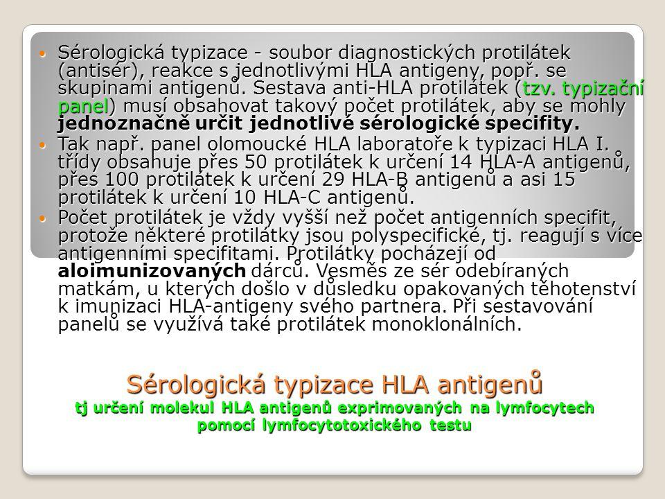 Sérologická typizace - soubor diagnostických protilátek (antisér), reakce s jednotlivými HLA antigeny, popř. se skupinami antigenů. Sestava anti-HLA protilátek (tzv. typizační panel) musí obsahovat takový počet protilátek, aby se mohly jednoznačně určit jednotlivé sérologické specifity.