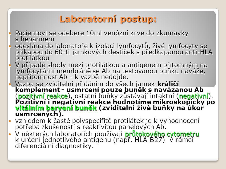 Laboratorní postup: Pacientovi se odebere 10ml venózní krve do zkumavky s heparinem.