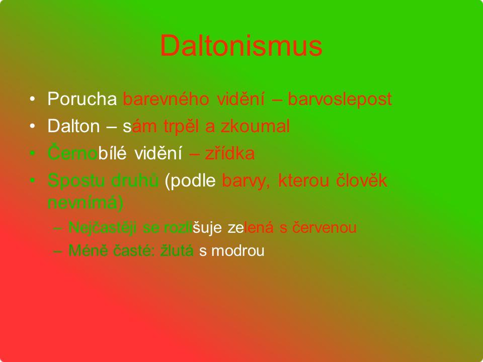 Daltonismus Porucha barevného vidění – barvoslepost