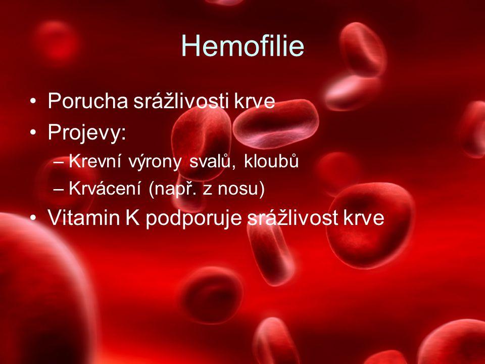 Hemofilie Porucha srážlivosti krve Projevy: