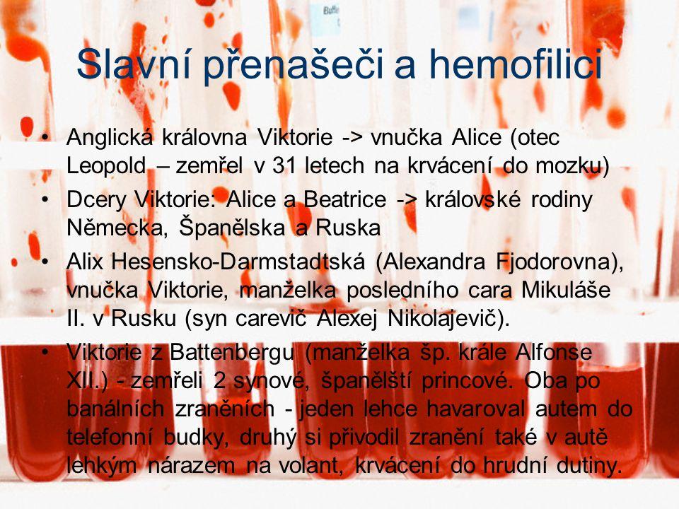 Slavní přenašeči a hemofilici