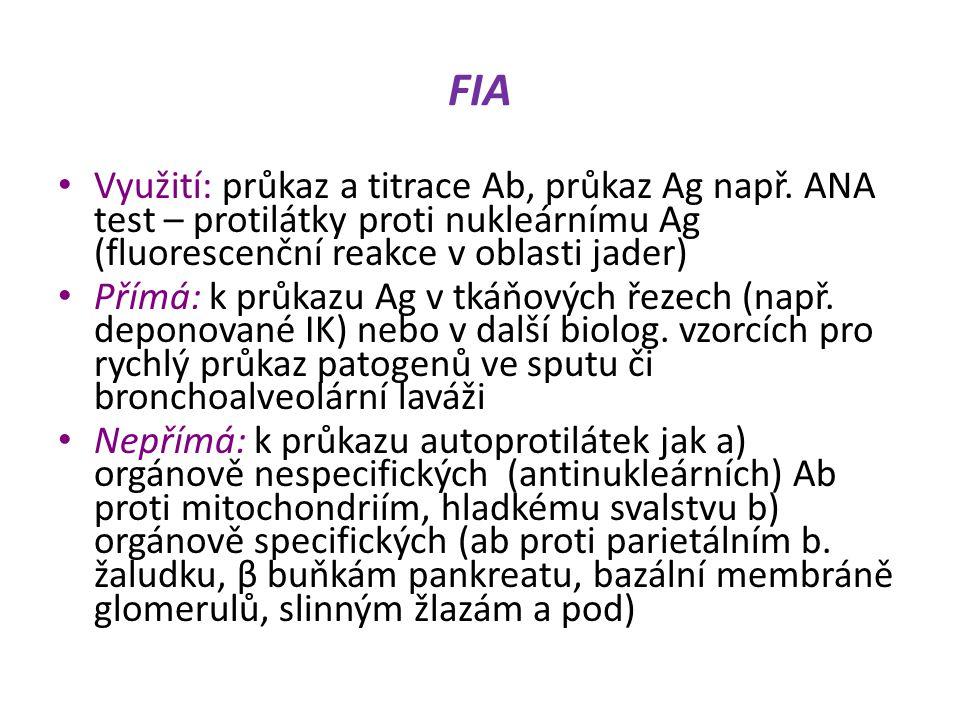 FIA Využití: průkaz a titrace Ab, průkaz Ag např. ANA test – protilátky proti nukleárnímu Ag (fluorescenční reakce v oblasti jader)