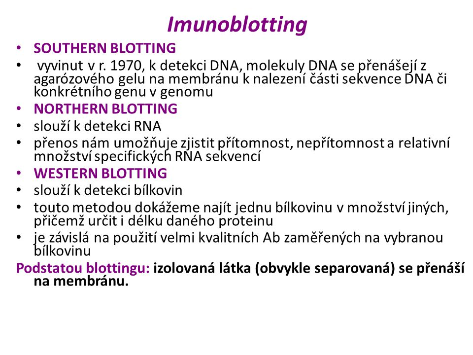 Imunoblotting SOUTHERN BLOTTING