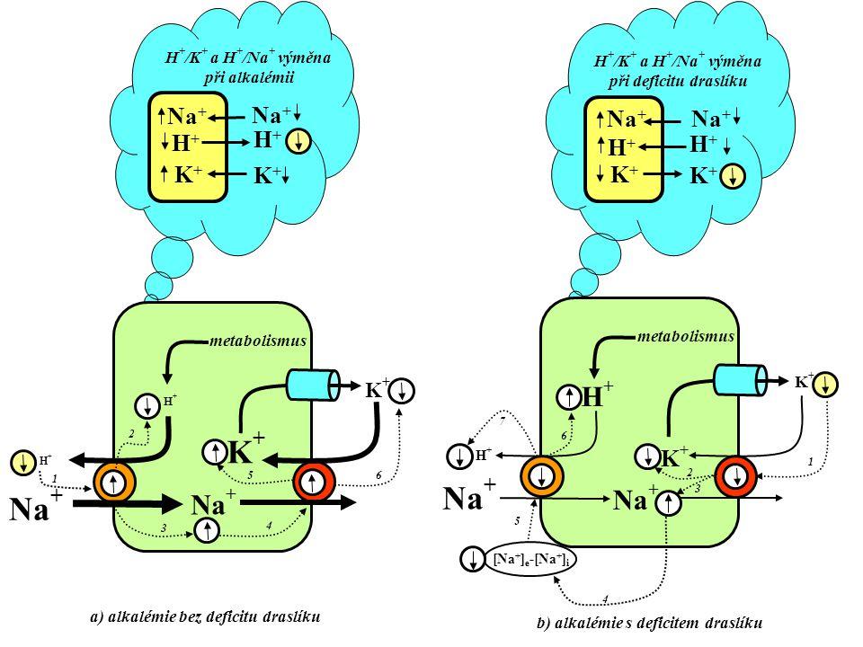 a) alkalémie bez deficitu draslíku b) alkalémie s deficitem draslíku