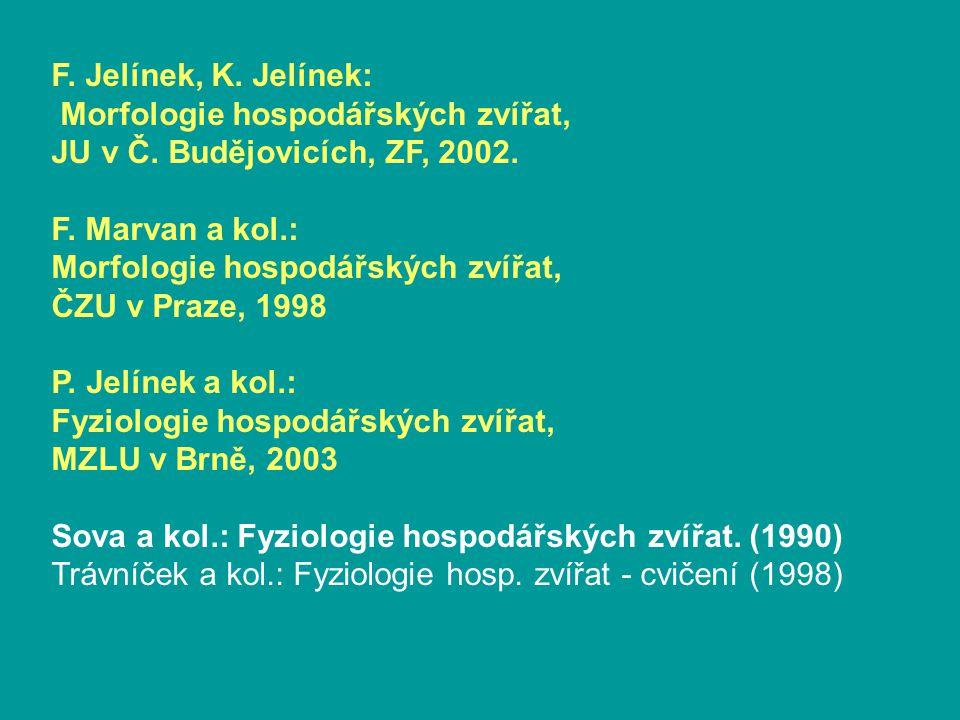 F. Jelínek, K. Jelínek: Morfologie hospodářských zvířat, JU v Č. Budějovicích, ZF, 2002. F. Marvan a kol.:
