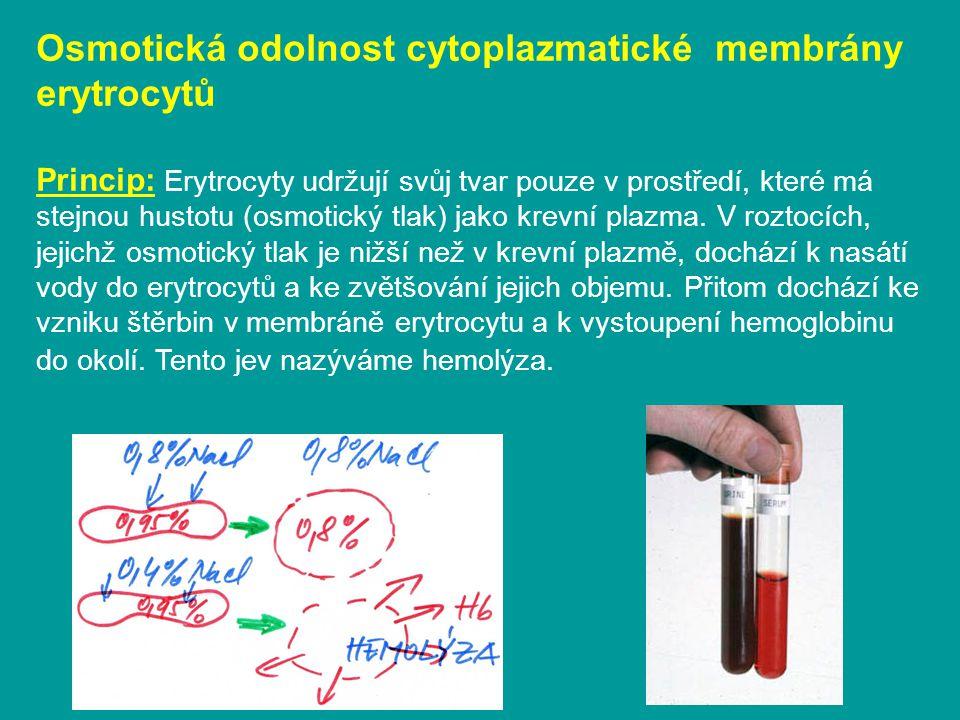 Osmotická odolnost cytoplazmatické membrány erytrocytů